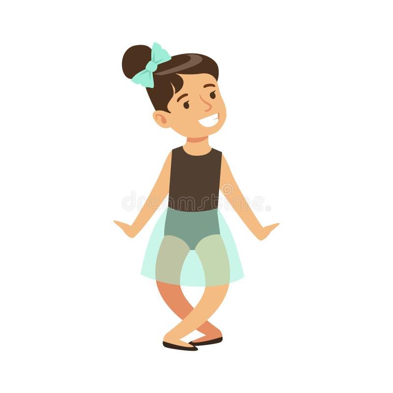 Niña en ballet azul del baile del tutú en clase de danza clásica, bailarín profesional futuro de la bailarina stock de ilustración
