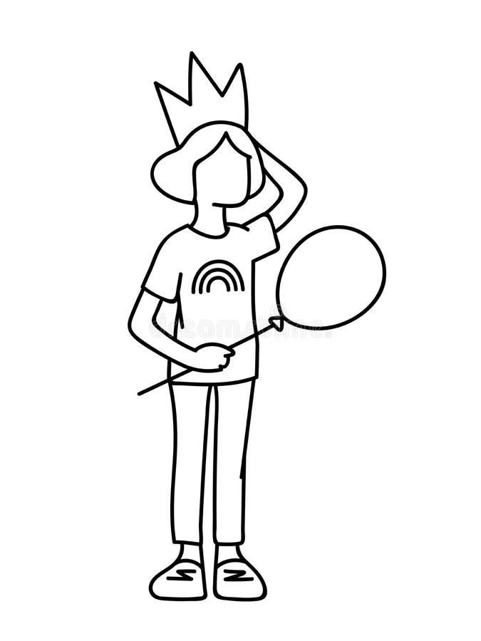 Niña en corona con el globo en su mano Líneas negras aisladas en el fondo blanco Concepto Ejemplo del vector de libre illustration