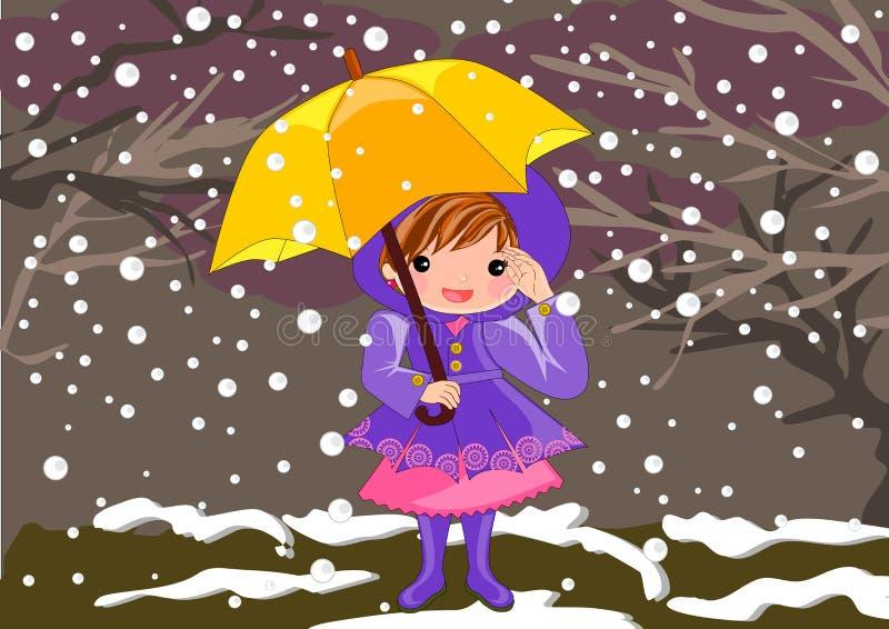 Niña en día nevoso libre illustration