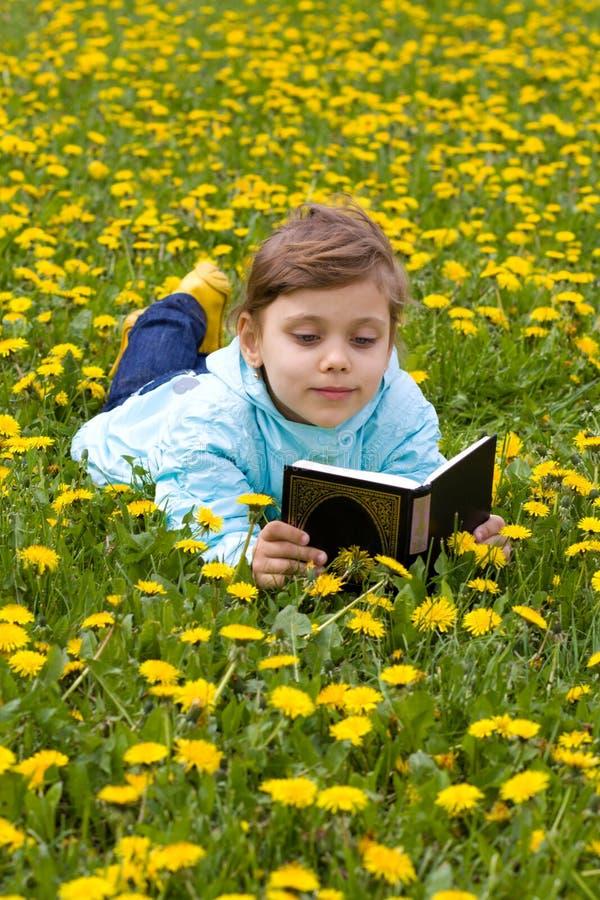 Niña en el libro de lectura de la hierba imagen de archivo libre de regalías