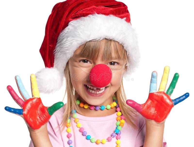 Niña en el sombrero de Santa imagen de archivo