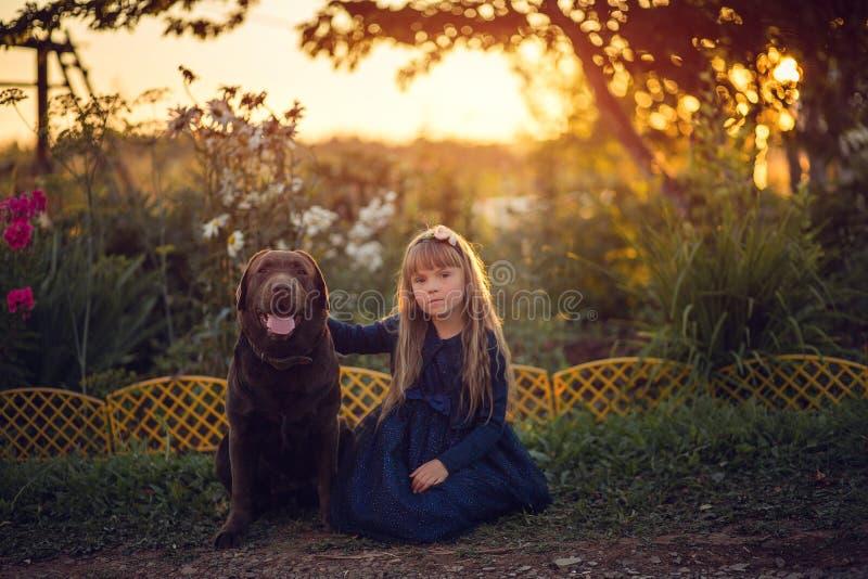 Niña en el vestido azul que se sienta con el perro en la puesta del sol imagen de archivo