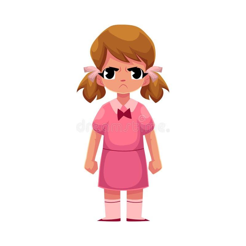 Niña en el vestido rosado que se coloca con la cara fruncida el ceño, enojada libre illustration