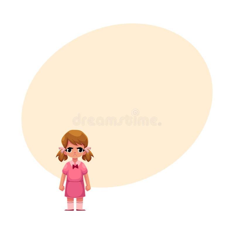 Niña en el vestido rosado que se coloca con la cara fruncida el ceño, enojada ilustración del vector