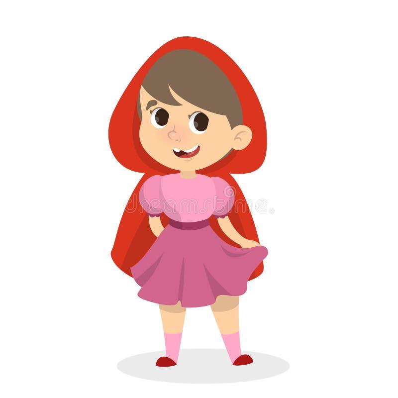 Niña en traje rojo de la capa con capucha Carácter de la fantasía libre illustration