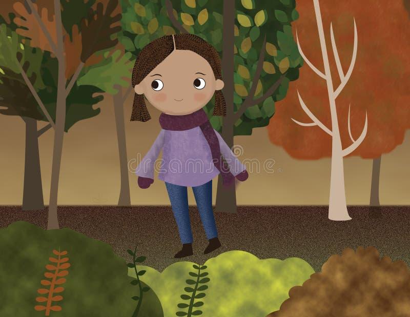 Niña en un bosque de otoño royalty free stock photo