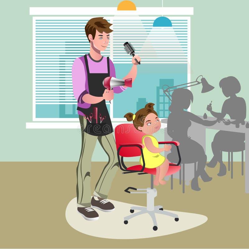 Niña en un peluquero libre illustration