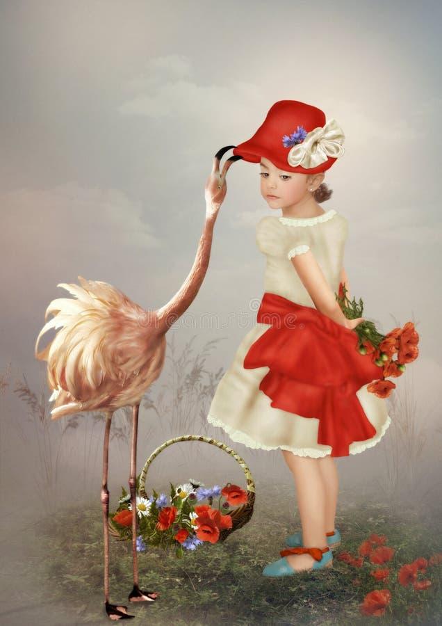 Niña en un sombrero rojo foto de archivo
