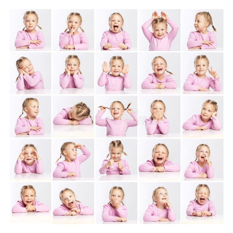 Niña en un suéter rosado con diversas emociones collage fotos de archivo