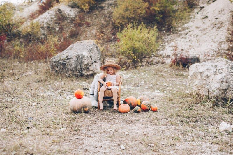 Niña encantadora en un sombrero de paja, silla de mimbre, calabazas fotografía de archivo