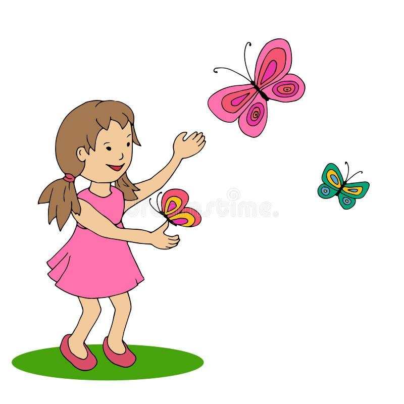 Niña feliz con la mariposa ilustración del vector