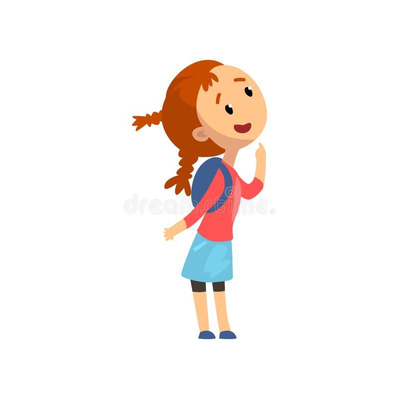 Niña feliz preciosa, niño que se divierte en el patio, parque de atracciones o ejemplo del vector del circo en un blanco stock de ilustración