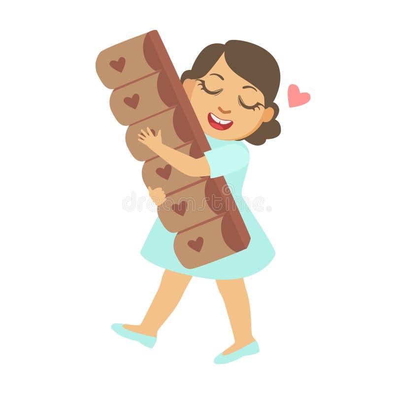 Niña feliz que cuida una barra de chocolate grande, un carácter colorido libre illustration