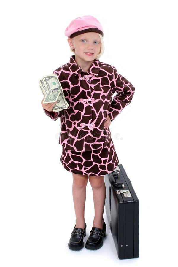 Niña hermosa con el dinero y la cartera fotos de archivo libres de regalías