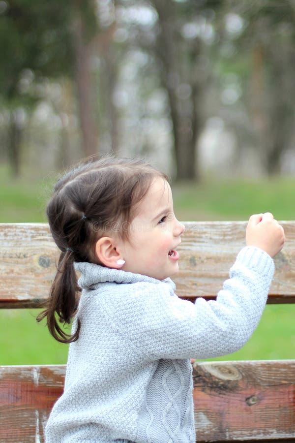 niña hermosa con las colas de caballo y en un suéter que se sienta en un banco en el parque y la sonrisa foto de archivo