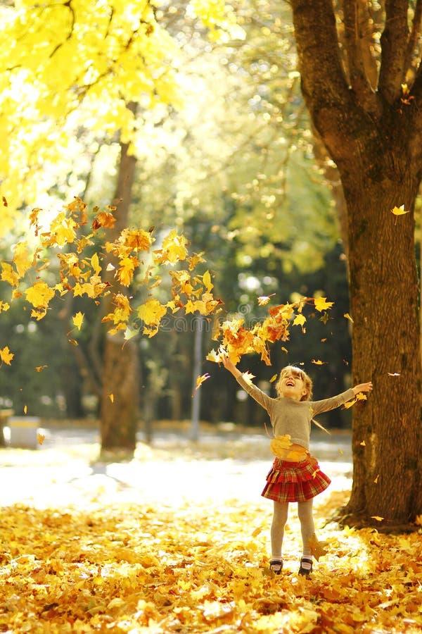 Niña hermosa en el parque del otoño que juega en naturaleza fotografía de archivo