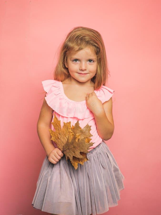 Niña hermosa en preparación para otoño Ni?o que se divierte con ca?da de la hoja VENTA del oto?o Tenencia bonita del pequeño niño fotos de archivo libres de regalías