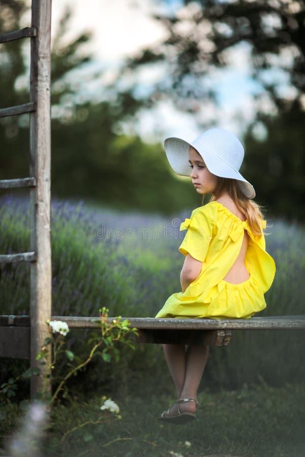 Niña hermosa en un vestido amarillo y un sombrero blanco que se sientan en un banco en un campo de la lavanda fotografía de archivo