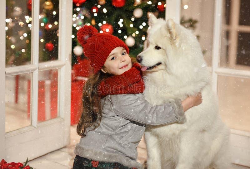 Niña hermosa que abraza un perro blanco grande en stree de la Navidad foto de archivo