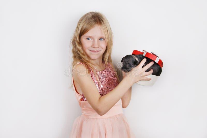 Niña hermosa sonriente que consigue el perrito en la caja de regalo para la Navidad o el cumpleaños fotos de archivo