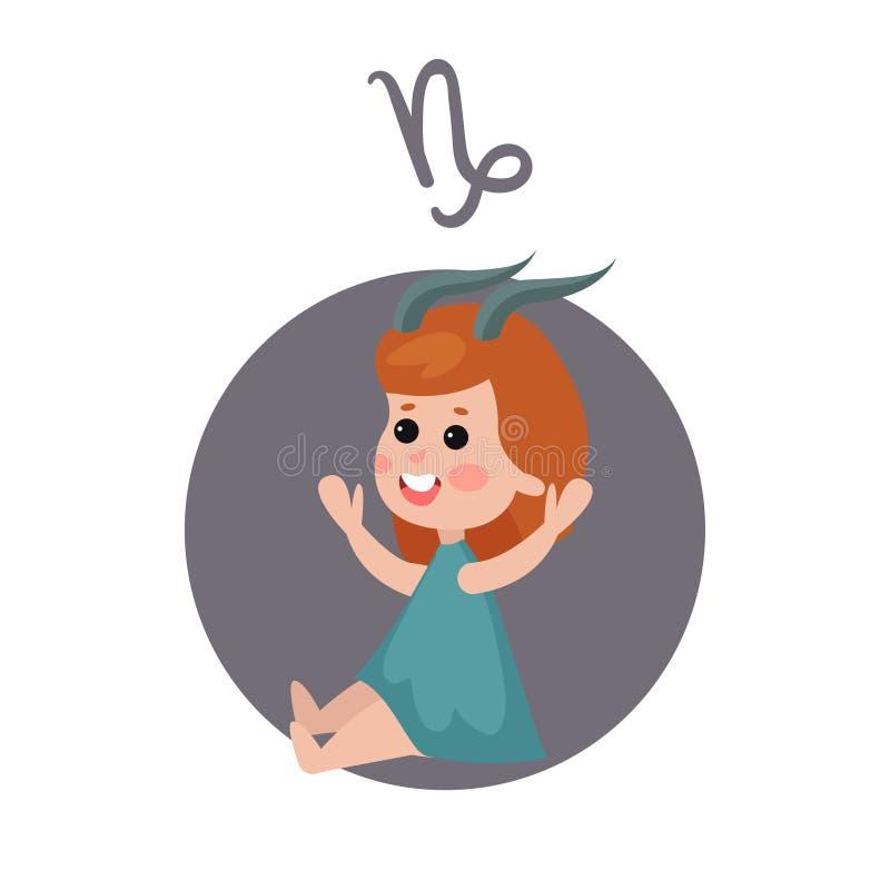 Niña linda como muestra astrológica del Capricornio, ejemplo colorido de la historieta del carácter del zodiaco del horóscopo stock de ilustración