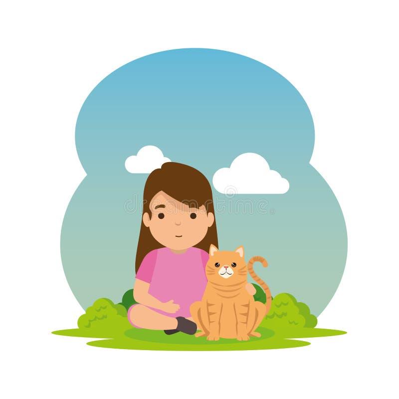 Niña linda con el gatito en el campo stock de ilustración