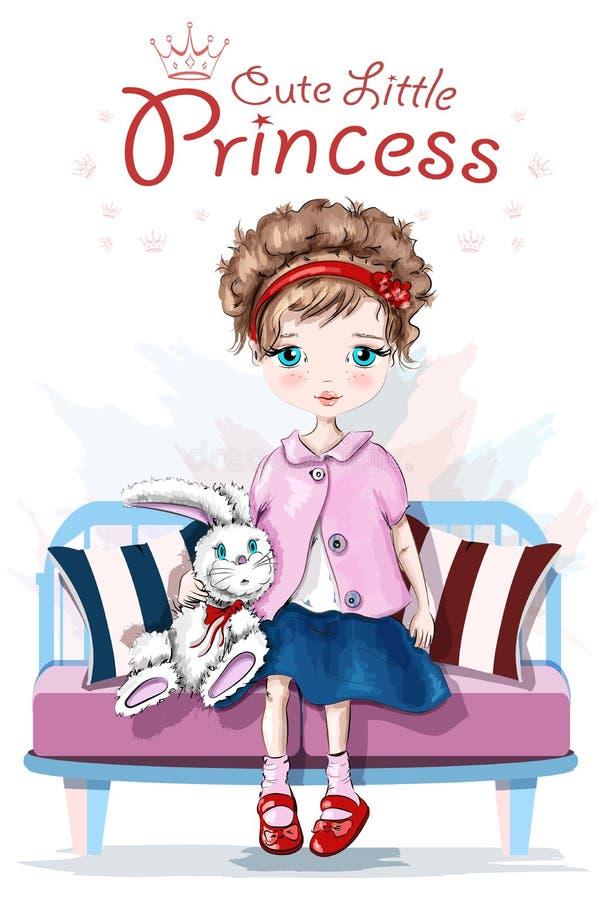 Niña linda con el juguete Muchacha bonita del niño Muchacha dibujada mano que se sienta en banco bosquejo libre illustration