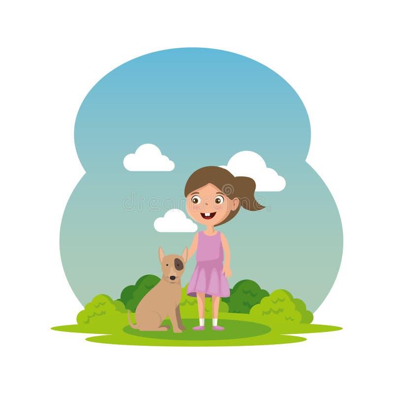 Niña linda con el perrito en el campo stock de ilustración