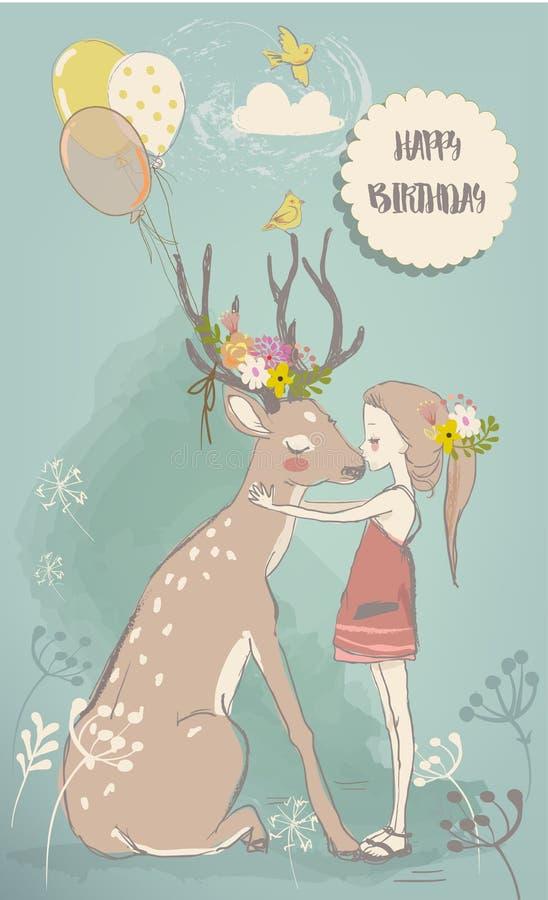 Niña linda con las liebres y los ciervos stock de ilustración