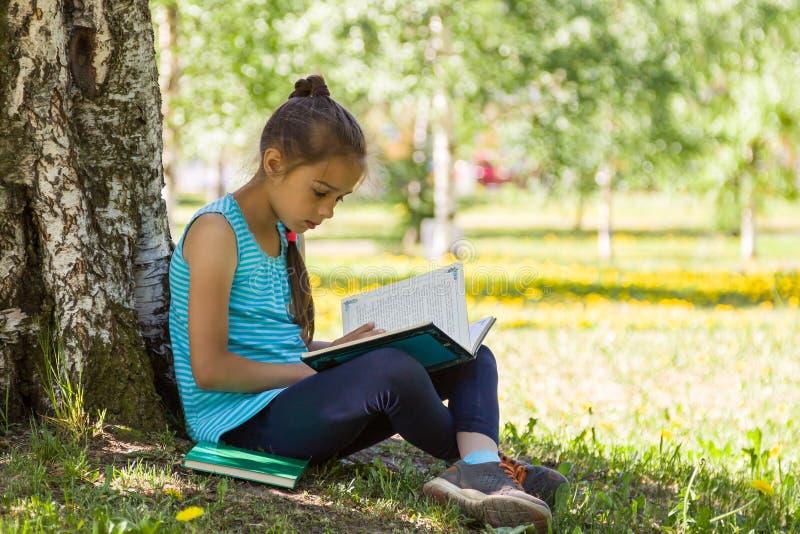 Niña linda que se sienta en una hierba verde en parque del verano y que lee un libro fotos de archivo libres de regalías