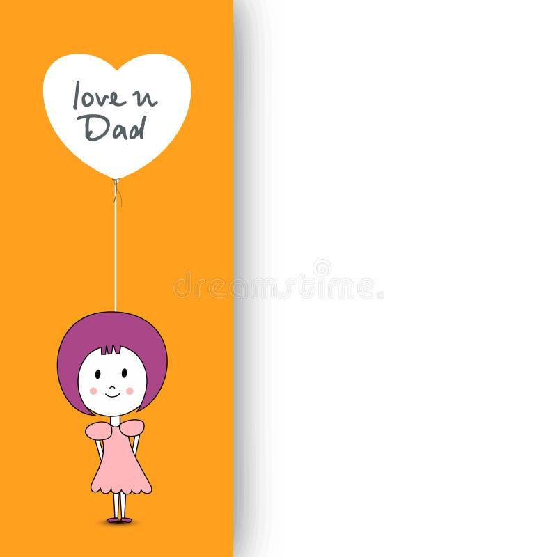 Niña linda que sostiene un globo que tiene amor del texto usted papá y libre illustration