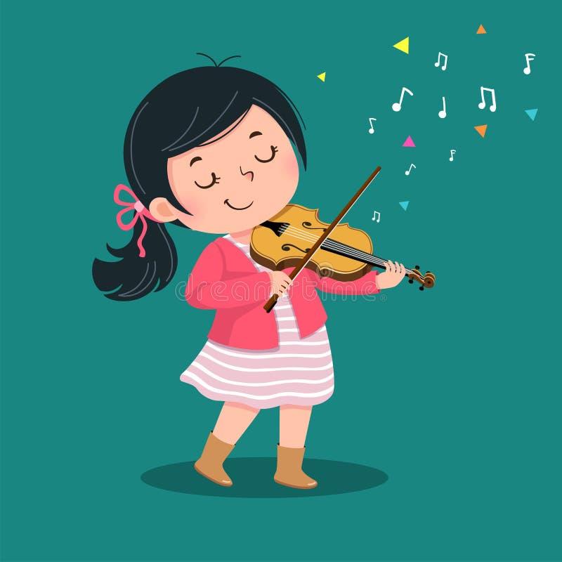 Niña linda que toca el violín en fondo verde stock de ilustración