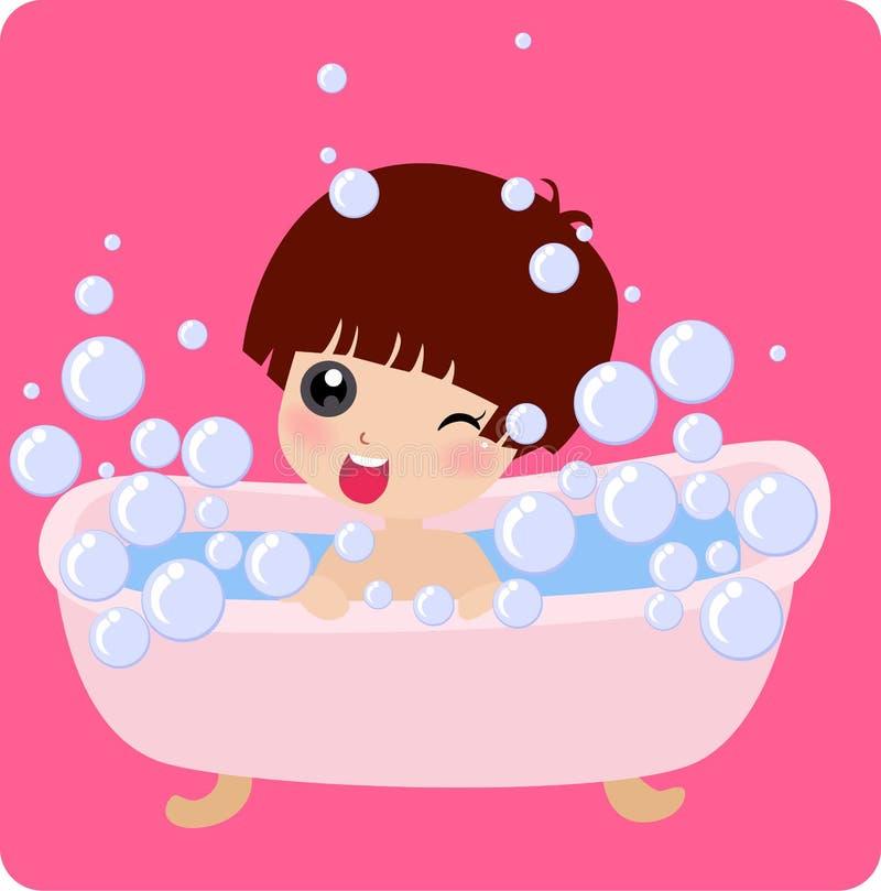 Niña linda que toma un baño ilustración del vector