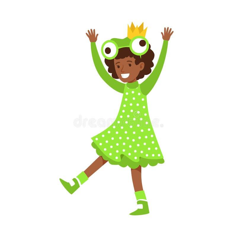 Niña linda vestida como rana Ejemplo colorido del vector del personaje de dibujos animados stock de ilustración