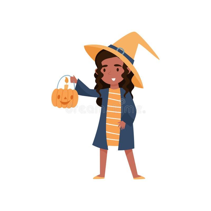 Niña morena linda vestida como bruja con la cesta hecha del ejemplo del vector de la calabaza en un fondo blanco libre illustration