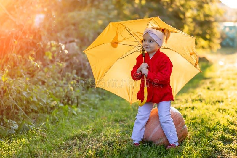 Niña pequeña con un paraguas amarillo en el jardín de otoño foto de archivo