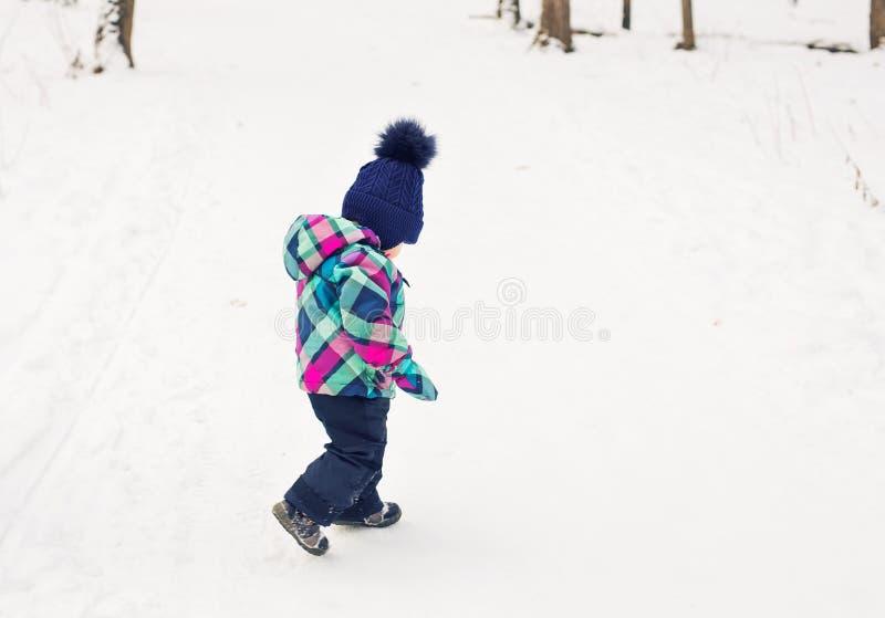 Niña pequeña feliz que juega en un parque nevoso hermoso del invierno el día de la Navidad imagen de archivo libre de regalías