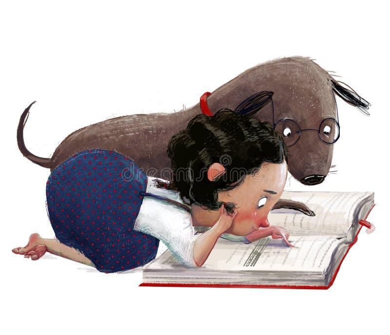 Niña pequeña y cortada, con un perro adorable marrón ilustración del vector