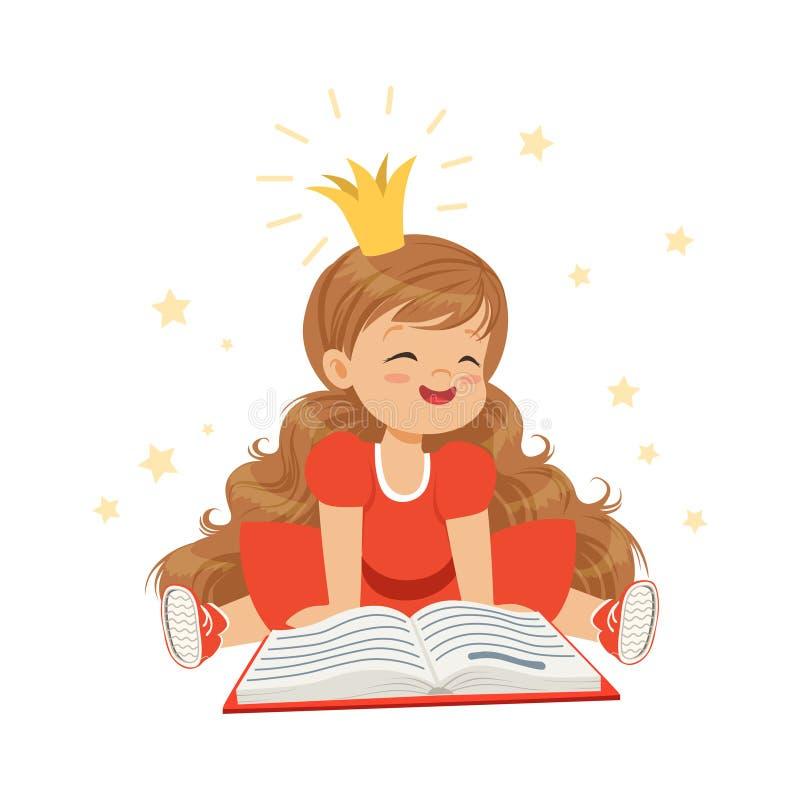 Niña preciosa en una corona y un vestido rojo que lee un libro, imaginación y fantasía, vector colorido de los niños del carácter ilustración del vector