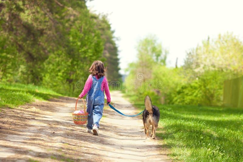 Niña que camina con el perro fotos de archivo libres de regalías