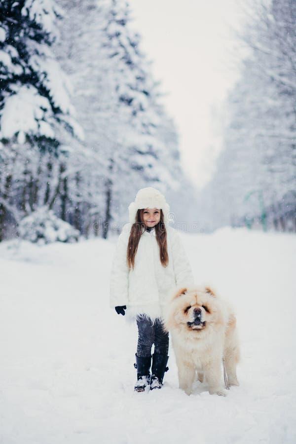 Niña que camina con un perro imagenes de archivo