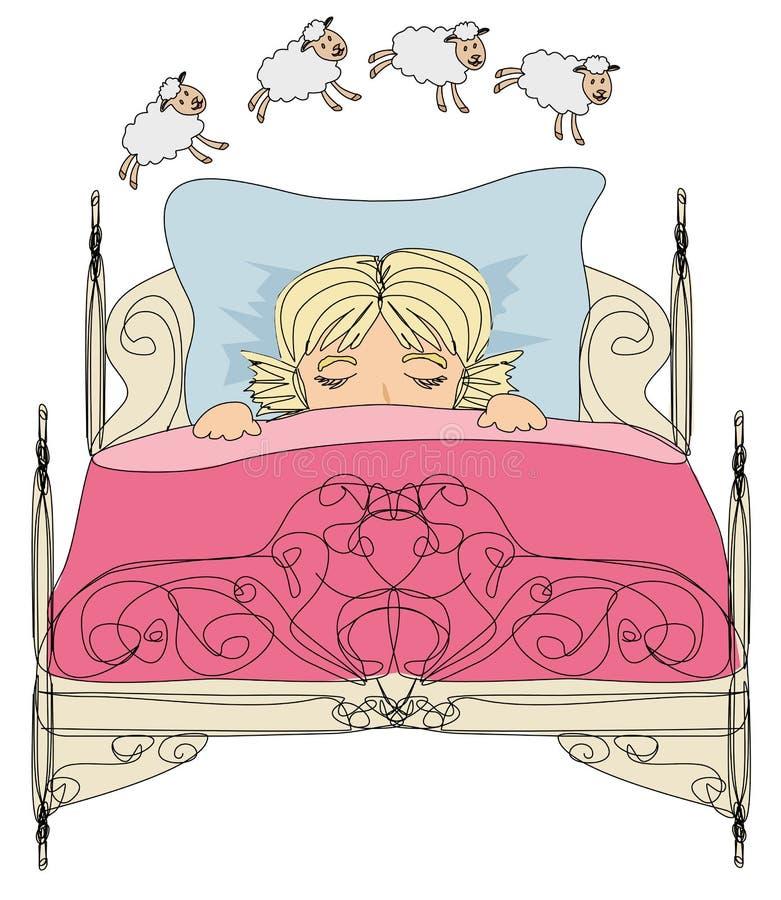 Niña que cuenta ovejas para caer dormido stock de ilustración