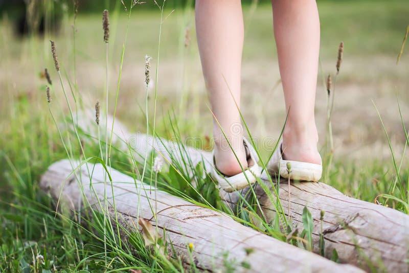 Niña que equilibra en un parque del verano del inicio de sesión Child& x27; piernas de s y cierre de la hierba verde para arriba fotos de archivo