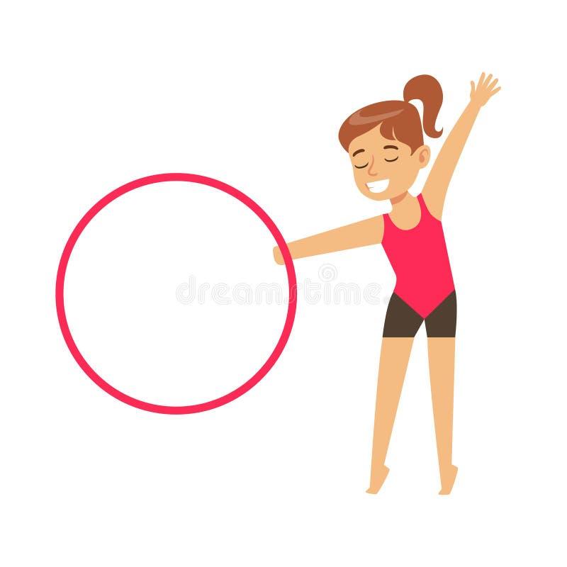 Niña que hace ejercicio de la gimnasia con el aparato en clase, deportes futuros del Hula-aro profesionales ilustración del vector