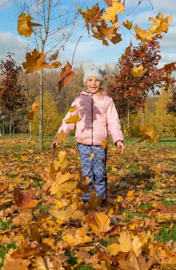 Niña que juega con las hojas de oro en parque hermoso del otoño imágenes de archivo libres de regalías