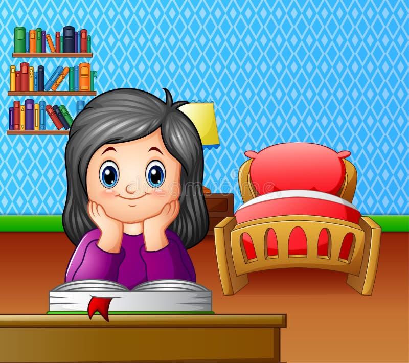 Niña que lee un libro en el cuarto stock de ilustración