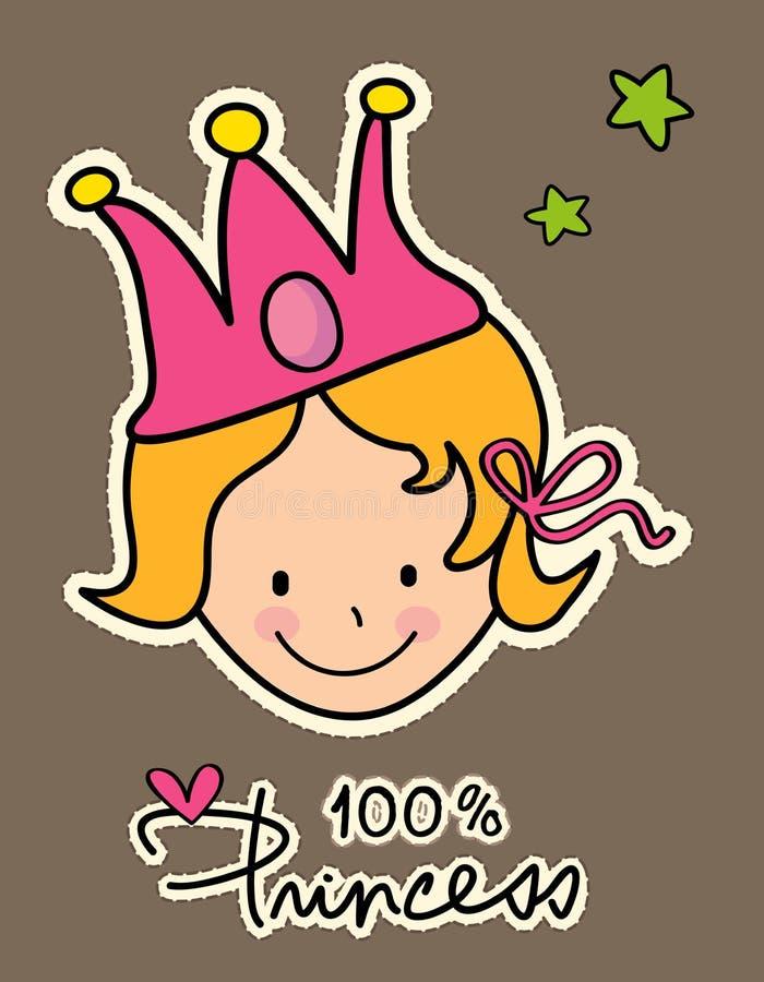 Niña que lleva una corona rosada stock de ilustración