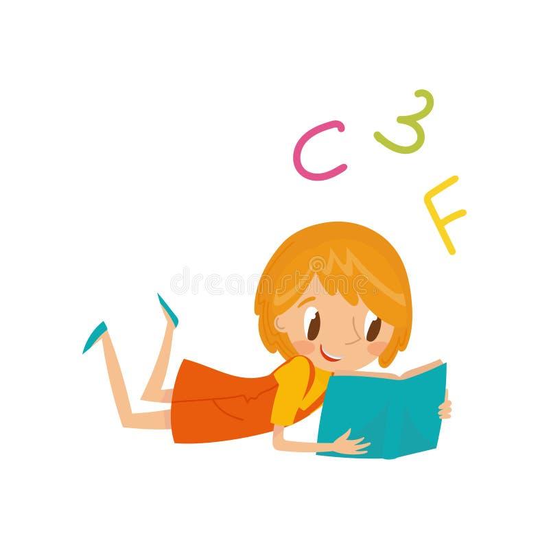Niña que miente en su estómago y que lee un concepto del libro, de la educación y del conocimiento, vector colorido del personaje stock de ilustración