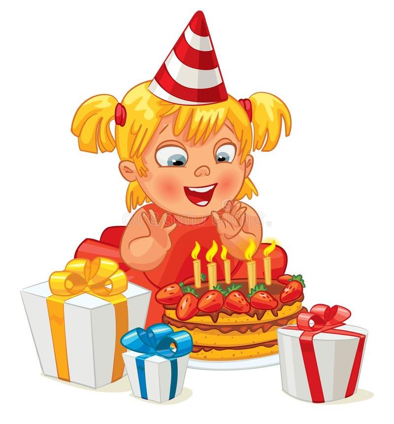 Niña que se divierte que celebra su cumpleaños ilustración del vector