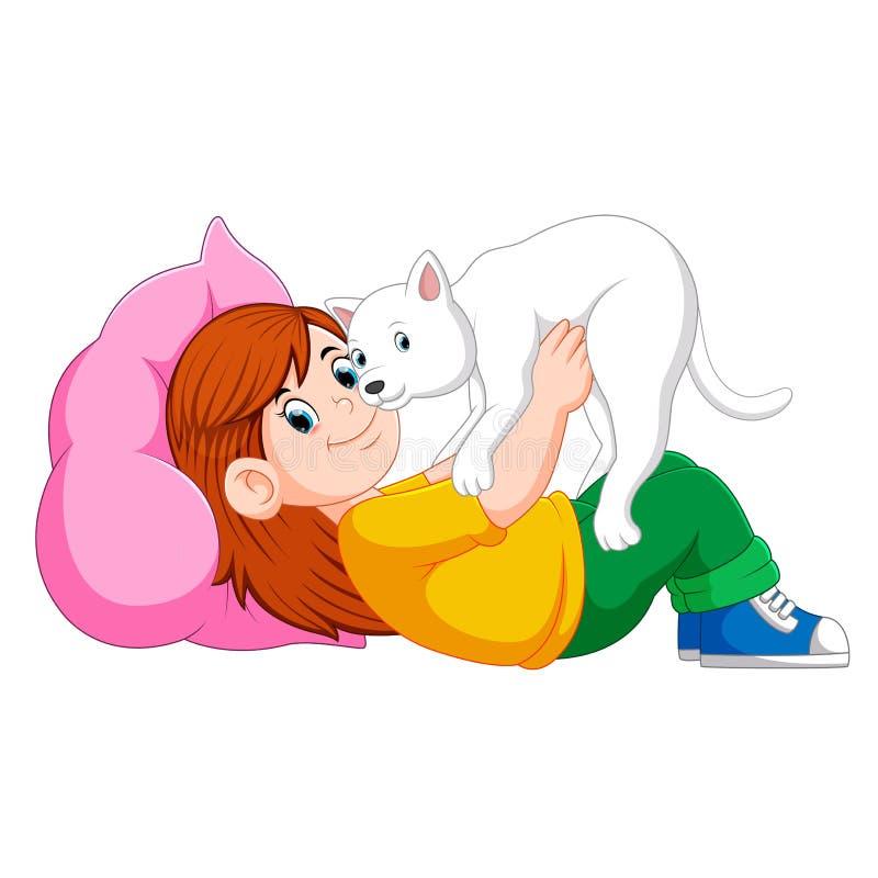 Niña que se relaja en la cama con su gatito libre illustration